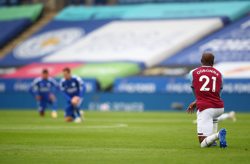 Angelo Ogbonna of West Ham takes a knee in support of the black lives matter movement.