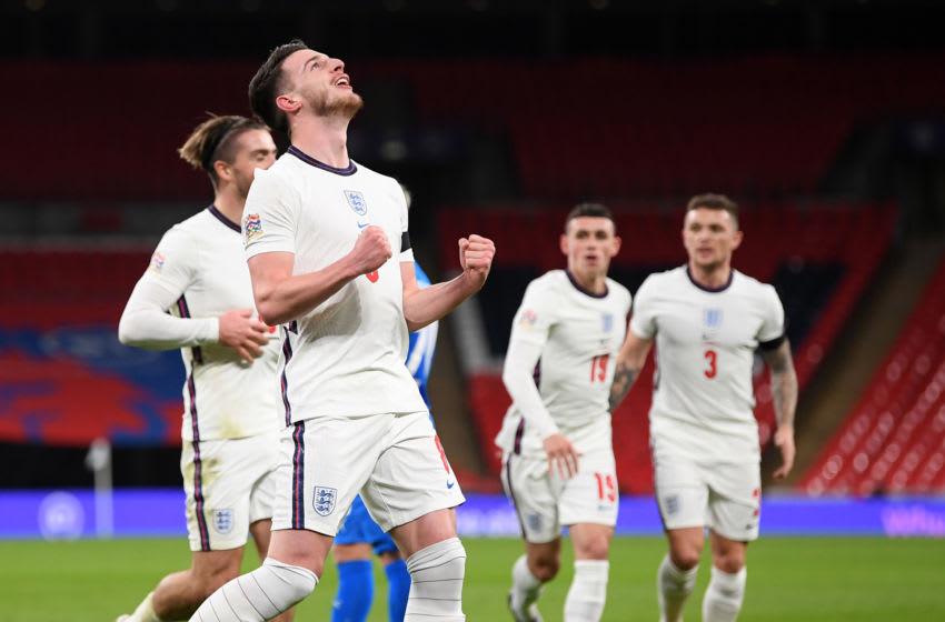 West Ham's Declan Rice celebrates scoring his first England goal.