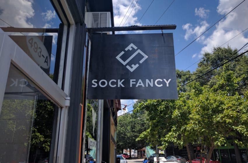 Sock Fancy store sign. Photo credit: Tiffany M. Davis for Local POV.