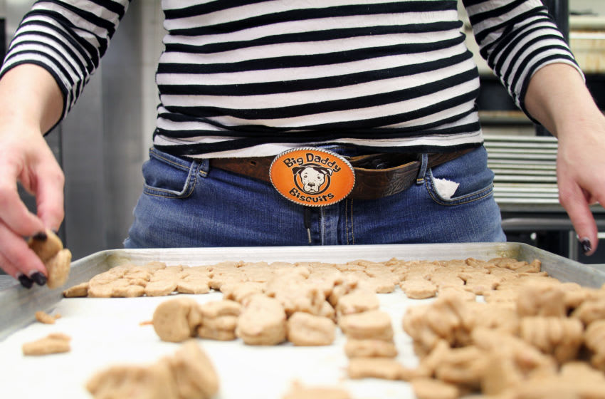 Big Daddy logo belt buckle (and a tray of freshly baked biscuits). Photo credit: Lauren Janis of Big Daddy Biscuits.