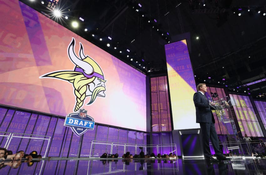 (Photo by Ronald Martinez/Getty Images) Roger Goodell at the draft - Minnesota Vikings on the clock