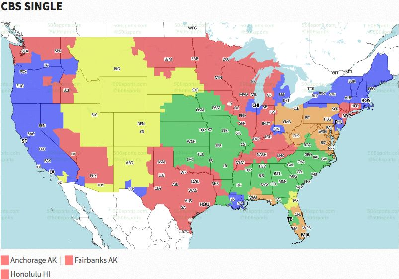Nfl Coverage Map 2016 Tv Schedule Week 13