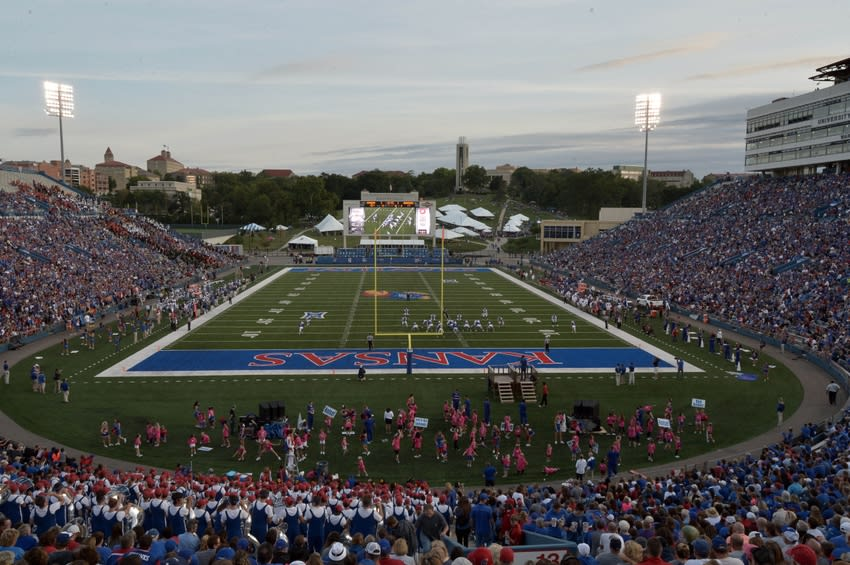A general view of the Kansas Jayhawks at Memorial Stadium. - Credit: Denny Medley-USA TODAY Sports