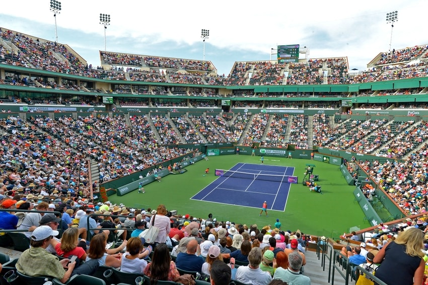 Mar 13, 2016; Indian Wells, CA, USA; Fans fill stadium 1 for the match between Serena Williams (USA) and Yulia Putintseva (KAZ) at the BNP Paribas Open at the Indian Wells Tennis Garden. Mandatory Credit: Jayne Kamin-Oncea-USA TODAY Sports
