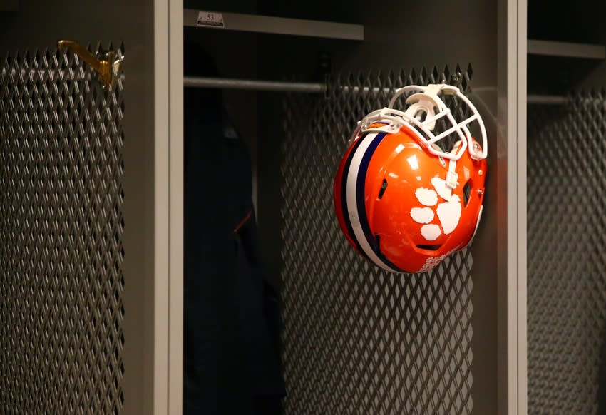 Jan 11, 2016; Glendale, AZ, USA; Detailed view of a Clemson Tigers helmet hanging in the locker room following the game against the Alabama Crimson Tide in the 2016 CFP National Championship at University of Phoenix Stadium. Mandatory Credit: Mark J. Rebilas-USA TODAY Sports
