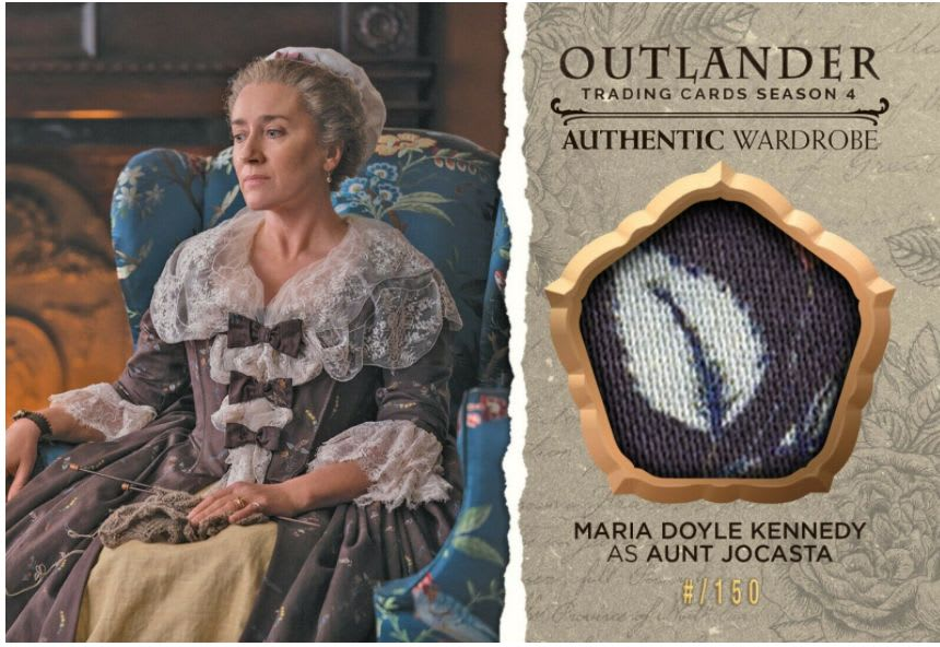 Cryptozoic Entertainment Oversized Wardrobe Trading Card featuring Aunt Jocasta from Season 4 of Outlander and part of the fabric used to make her costume.