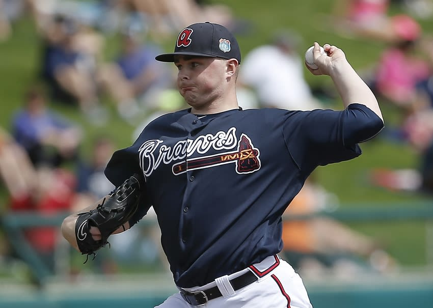 Mar 3, 2016; Lake Buena Vista, FL, USA; Atlanta Braves starting pitcher Sean Newcomb (78) throws a pitch during the first inning of a spring training baseball game against the Detroit Tigers at Champion Stadium. Mandatory Credit: Reinhold Matay-USA TODAY Sports