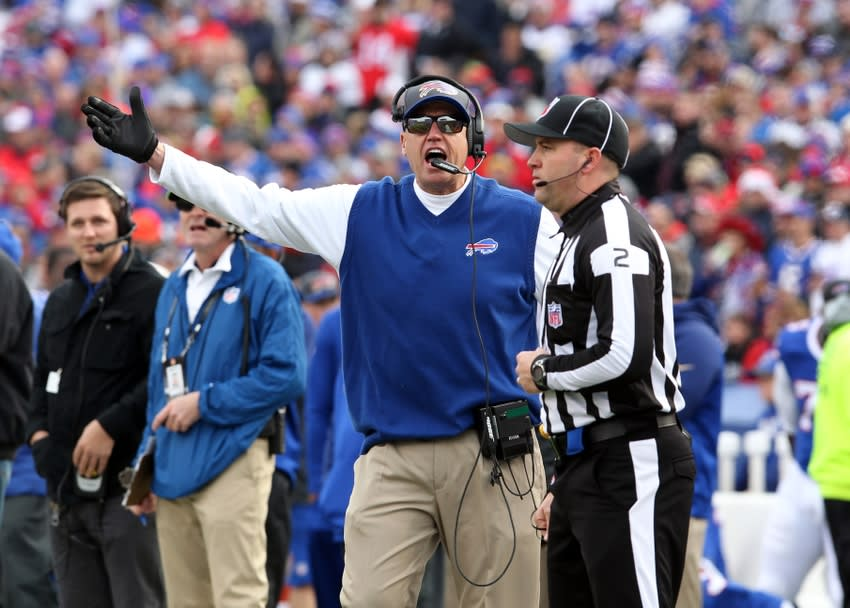Dec 6, 2015; Orchard Park, NY, USA; Buffalo Bills head coach Rex Ryan argues a call with a referee during the first half against the Houston Texans at Ralph Wilson Stadium. Mandatory Credit: Timothy T. Ludwig-USA TODAY Sports