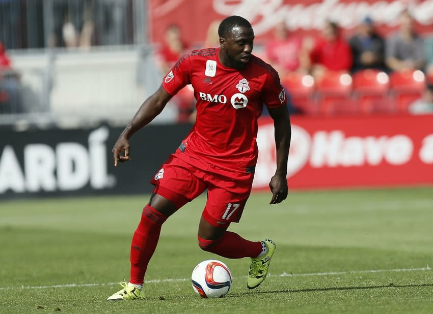 Sep 26, 2015; Toronto, Ontario, CAN; Toronto FC forward Jozy Altidore (17) controls the ball against the Chicago Fire at BMO Field. Toronto defeated Chicago 3-2. Mandatory Credit: John E. Sokolowski-USA TODAY Sports