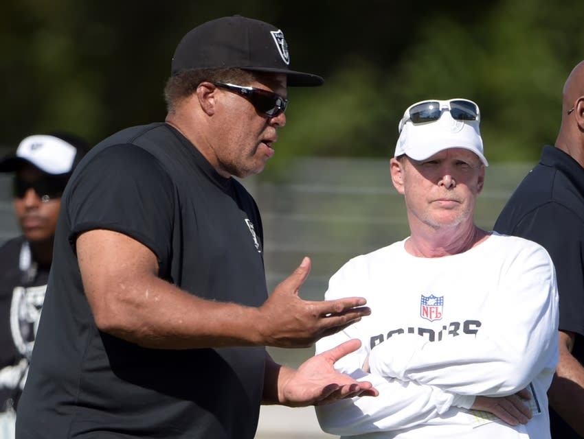 Aug 2, 2015; Napa, CA, USA; Oakland Raiders general manager Reggie McKenzie (left) and owner Mark Davis at training camp at the Napa Valley Marriott. Mandatory Credit: Kirby Lee-USA TODAY Sports