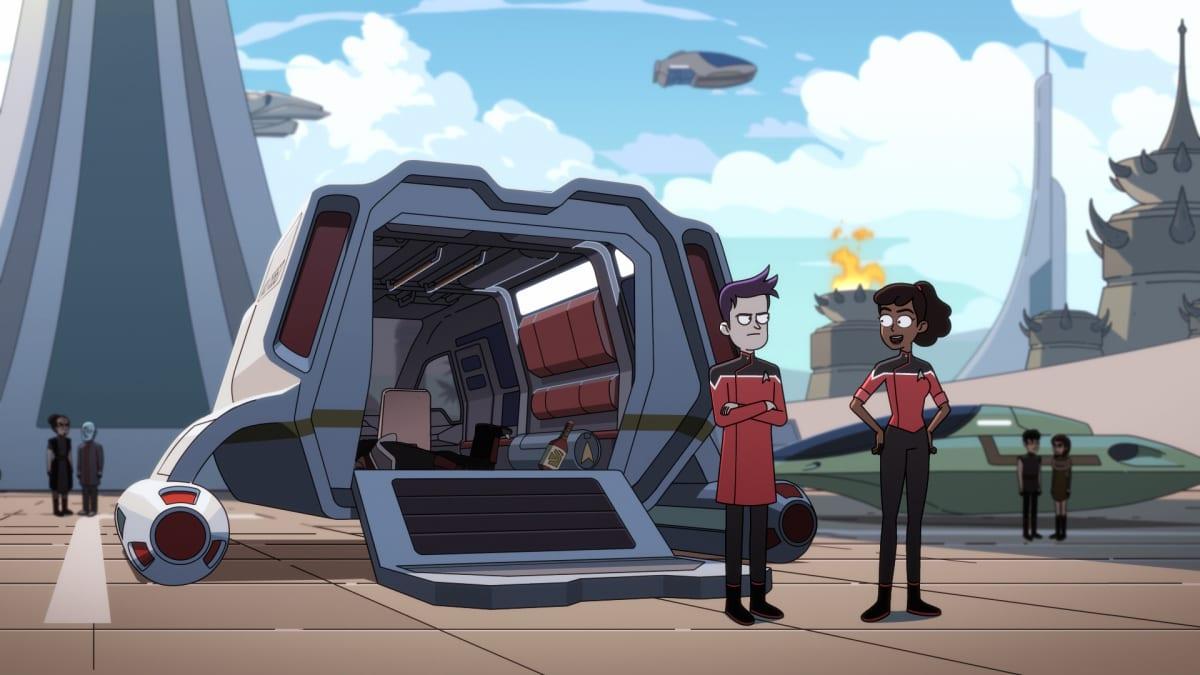 Star Trek: Lower Decks Episode 2: Envoys, starring Tawny Newsome as Ensign Beckett Mariner and Jack Quaid as Ensign Brad Boimler