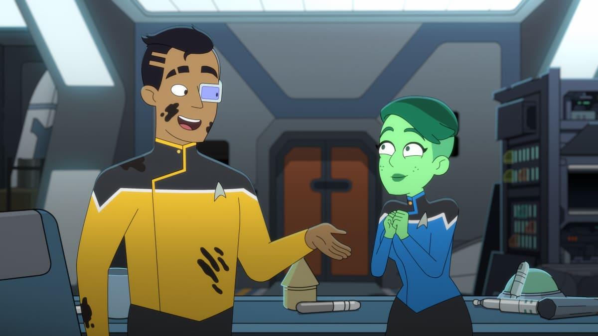 Star Trek: Lower Decks Episode 2: Envoys, starring Eugene Cordero as Ensign Rutherford and Noël Wells as Ensign Tendi
