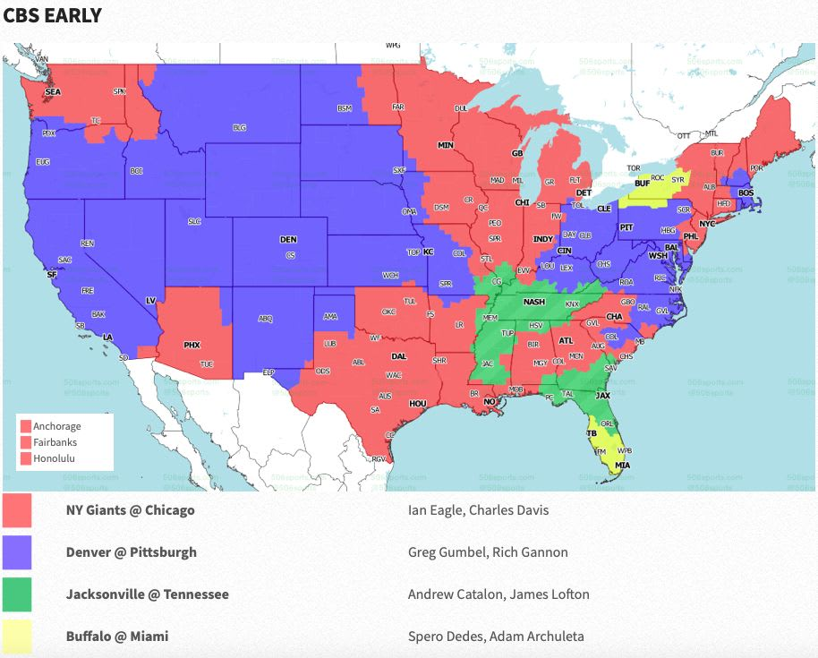 Nfl Coverage Map 2020 Tv Schedule Week X