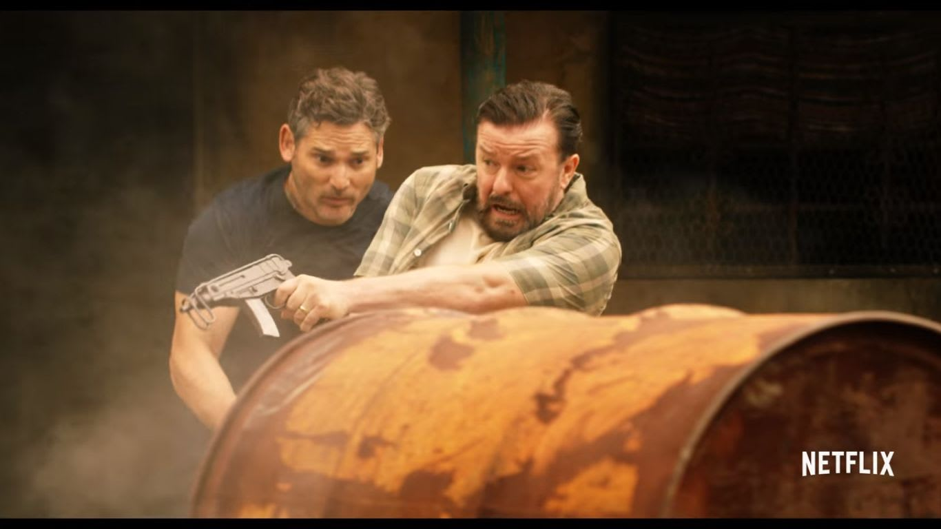 Ricky Gervais and Eric Bana in Special Correspondents, a Netflix Original film