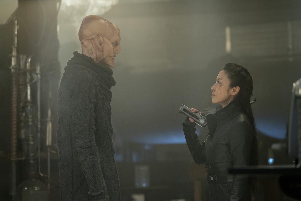 Doug Jones as Saru; Michelle Yeoh as Georgiou on STAR TREK: DISCOVERY Season 3
