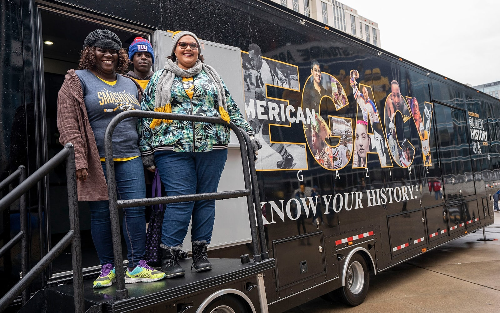 NASHVILLE, TN - FEBRUARY 10: Black Girl Hockey Club members visit the Black History Month Museum outside Bridgestone Arena prior to an NHL game between the Nashville Predators and the St. Louis Blues on February 10, 2019 in Nashville, Tennessee. (Photo by John Russell/NHLI via Getty Images)