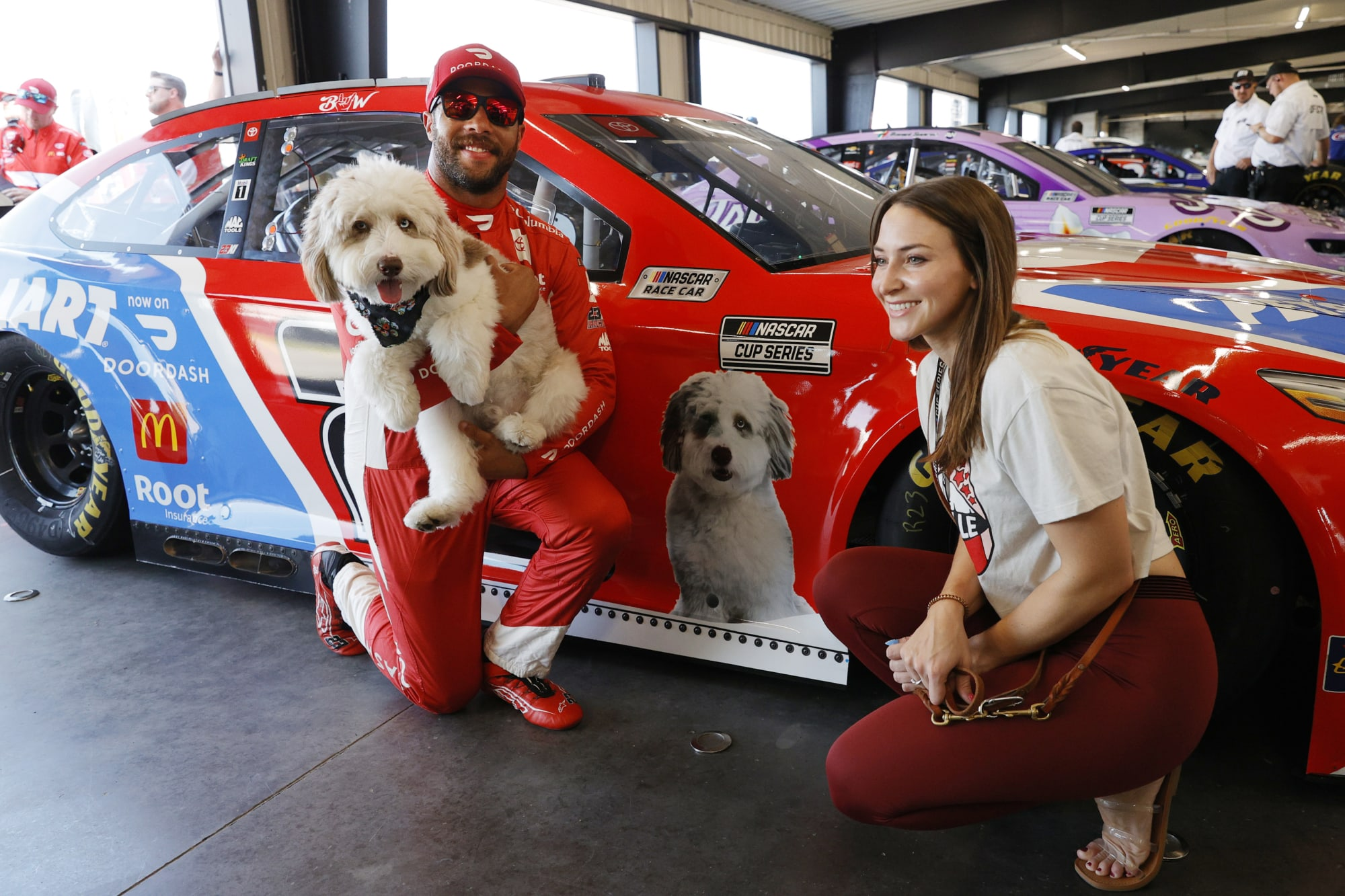 Bubba Wallace dog Asher helps with Dad's proposal