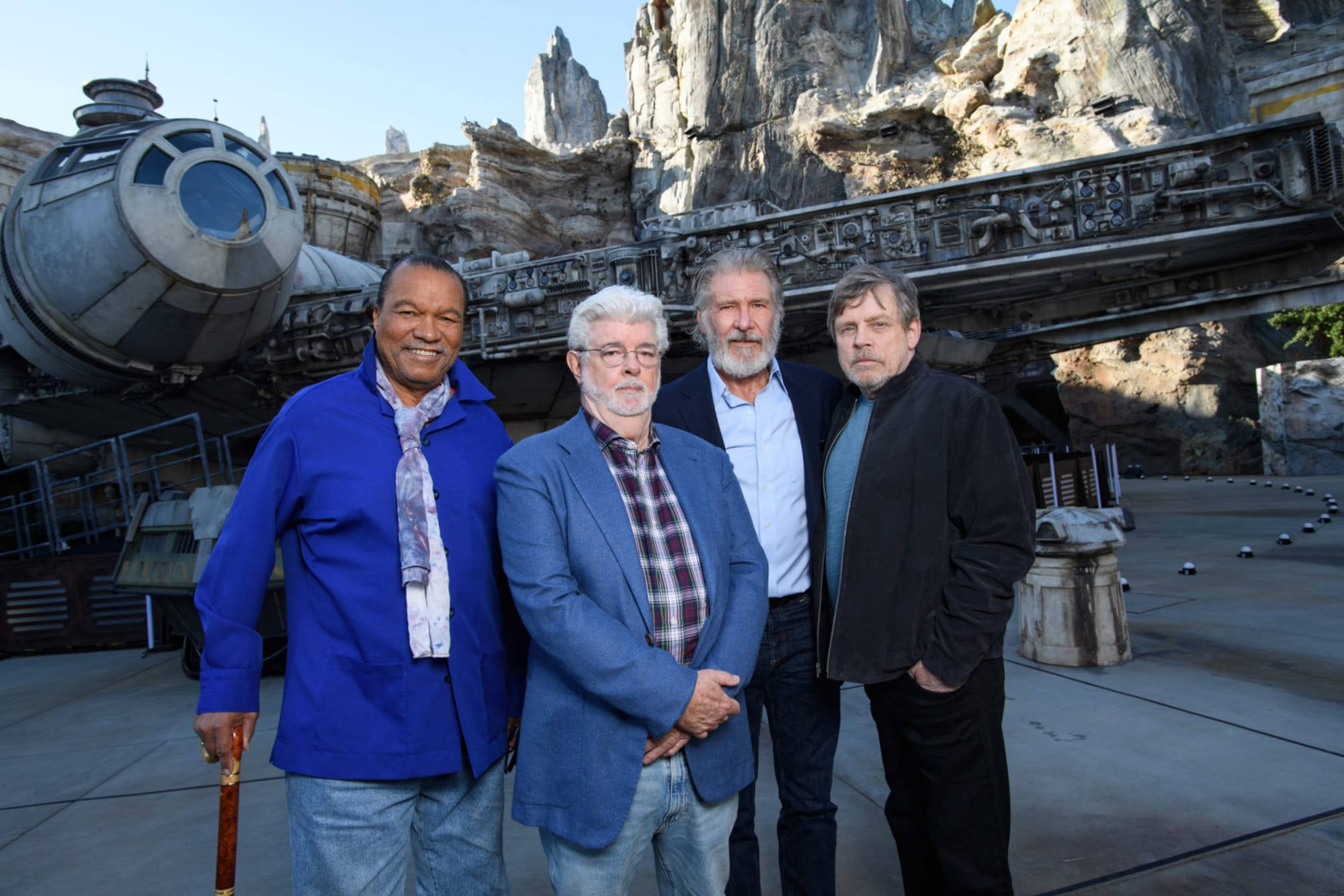 Billy Dee Williams, George Lucas, Harrison Ford, and Mark Hamill at Star Wars: Galaxy's Edge