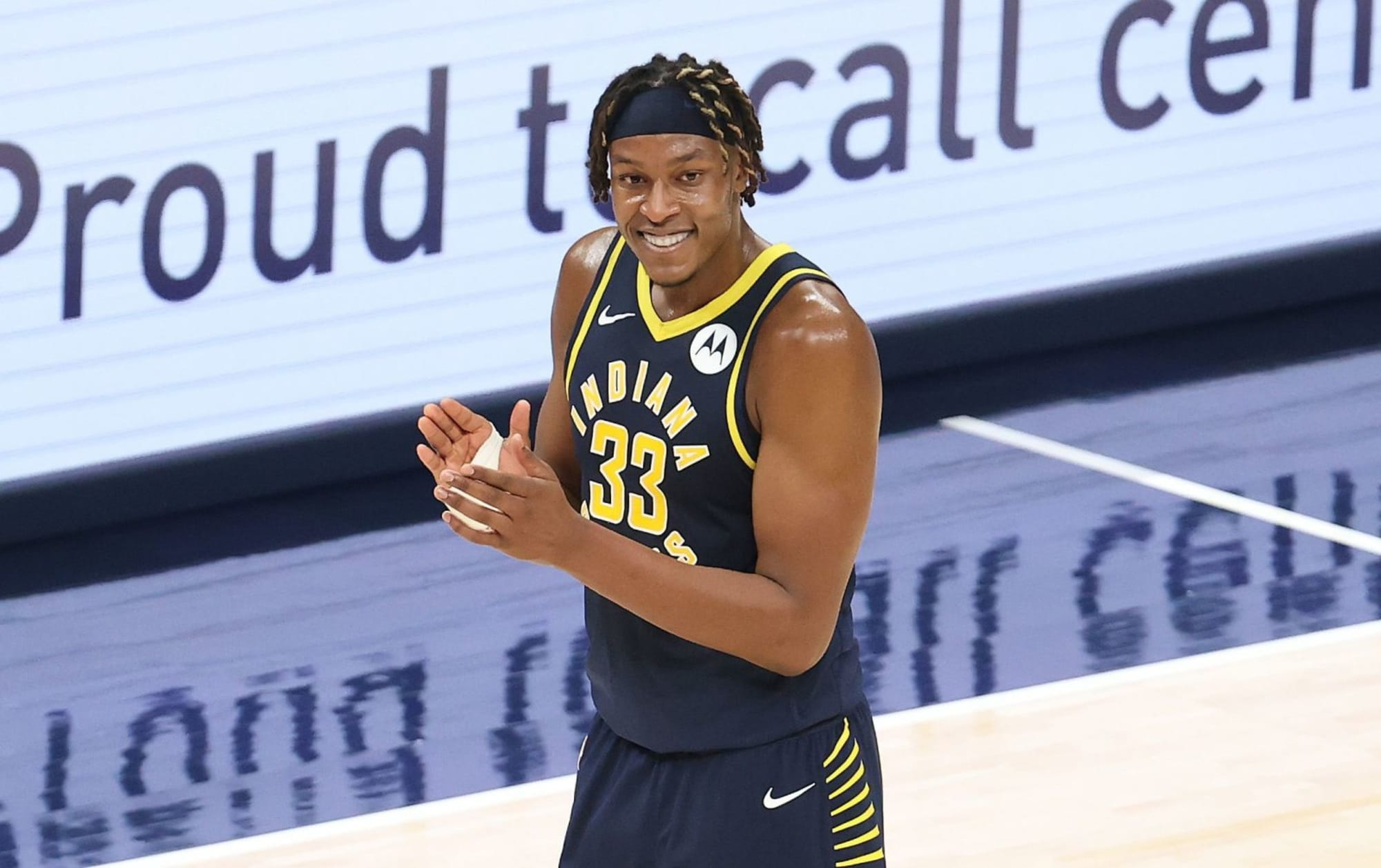 Myles Turner autographed a baby's head Ricky Bobby style