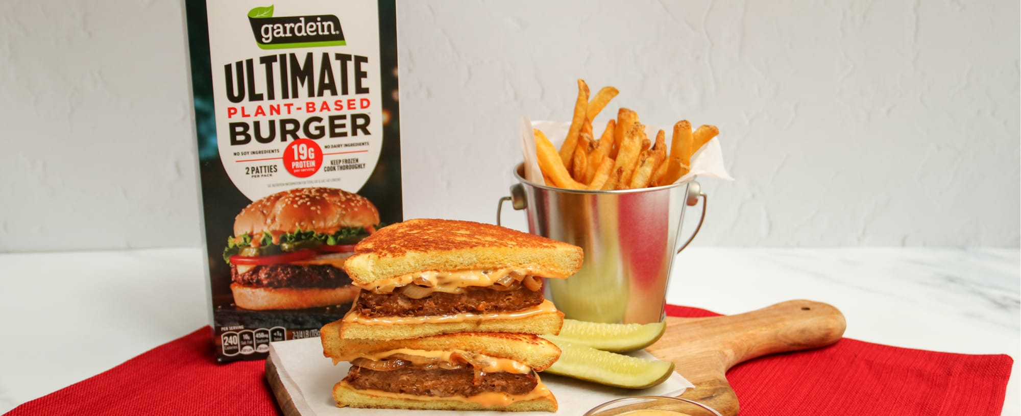 Katie Lee updates her winning Burger Bash recipe with a plant based twist