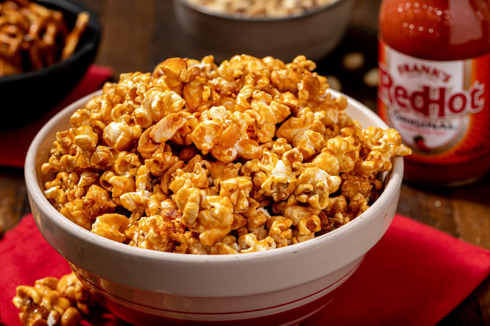 Kicked Up Caramel Popcorn is the ultimate game day snack