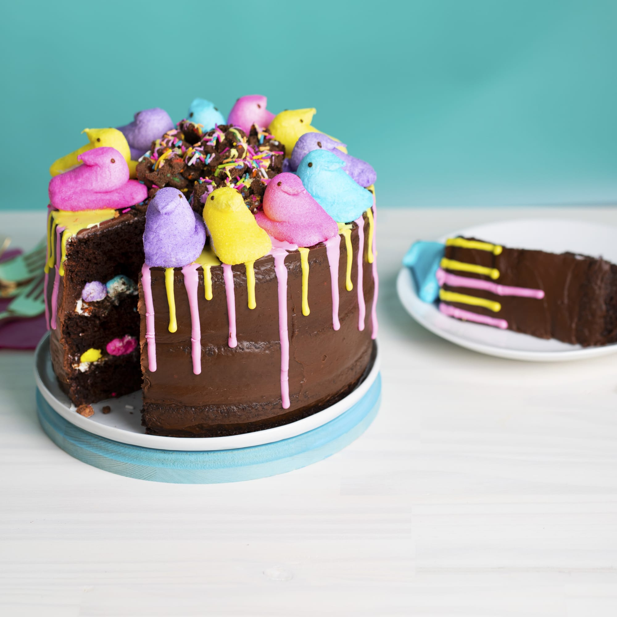 PEEPS Duncan Hines Chocolate Crunch Layer Cake and Vanilla Drizzle.
