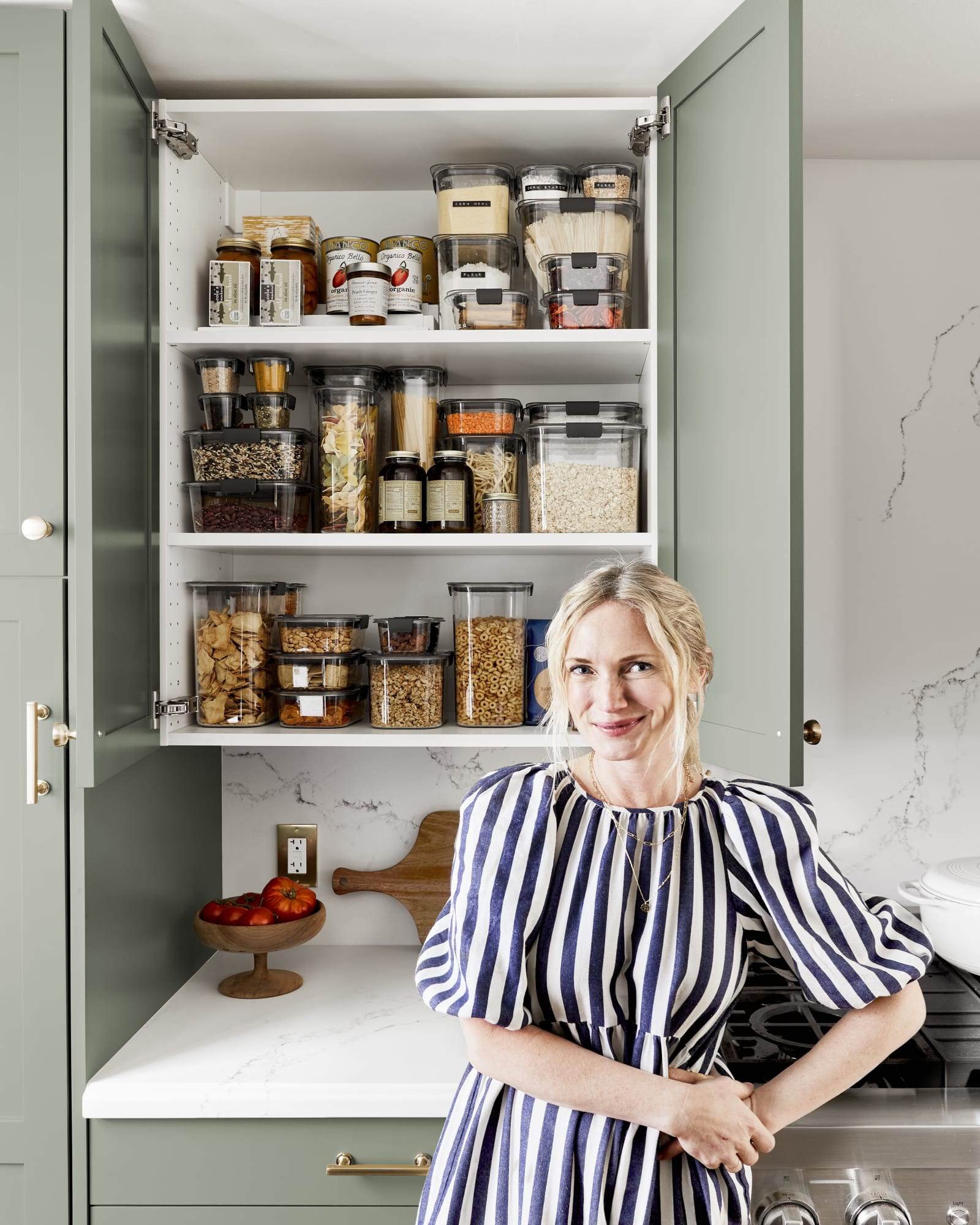 Rubbermaid Brilliance and Emily Henderson offer a clear pantry solution