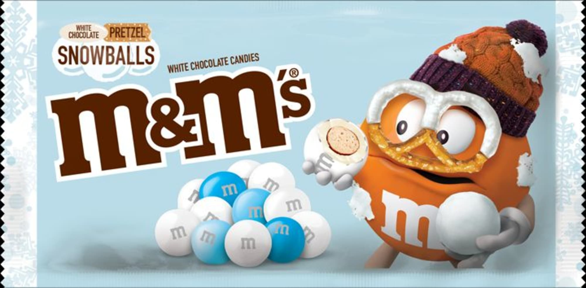 M&M's White Chocolate Pretzel Snowballs will be the holiday candy hit