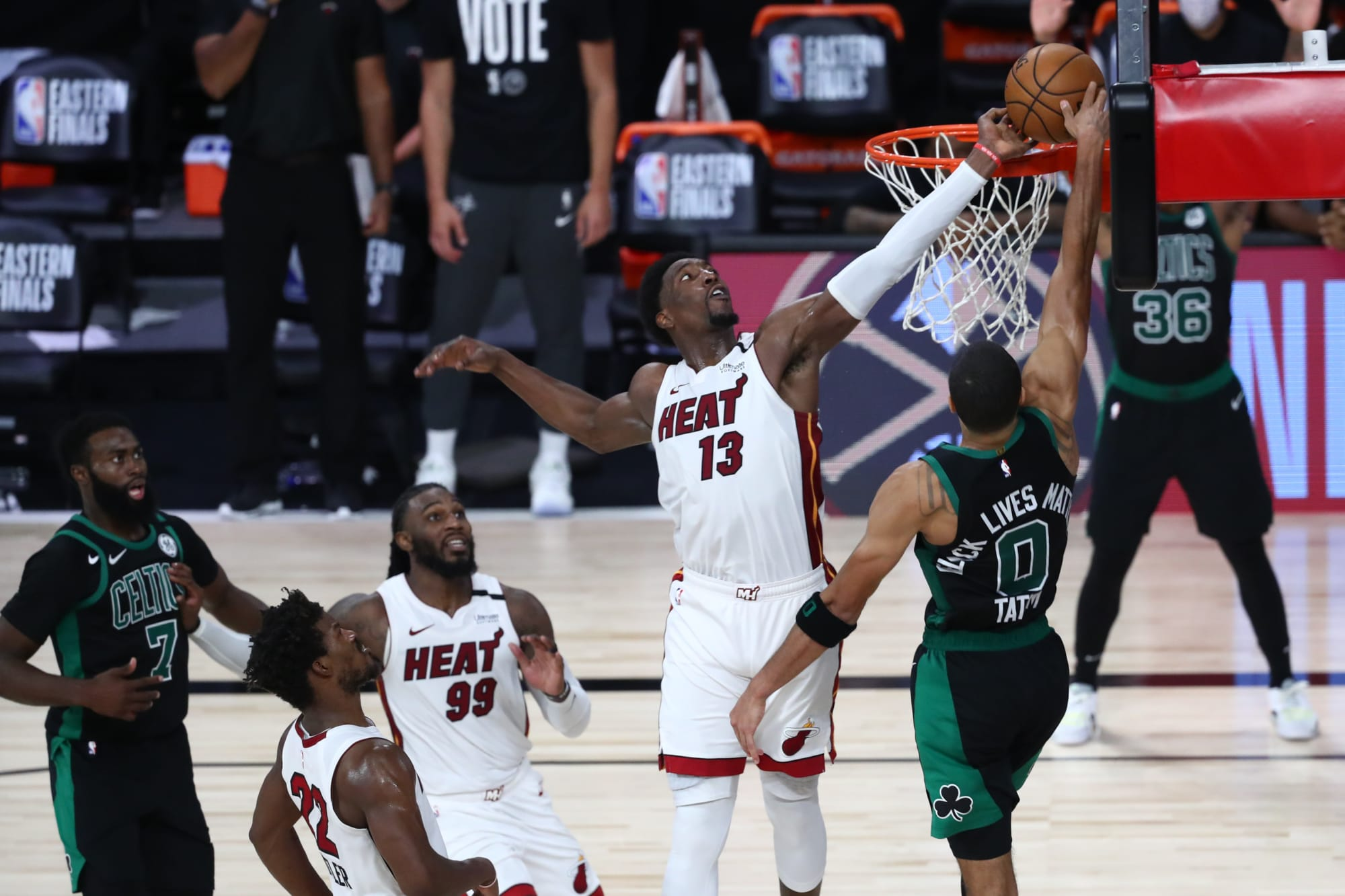 Boston Celtics: Bam Adebayo's T-Shirt featured Jayson Tatum swipe
