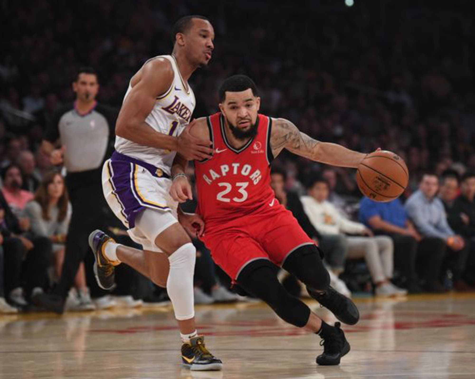 shine Angeles Avery with defense Bradley Los  on Lakers
