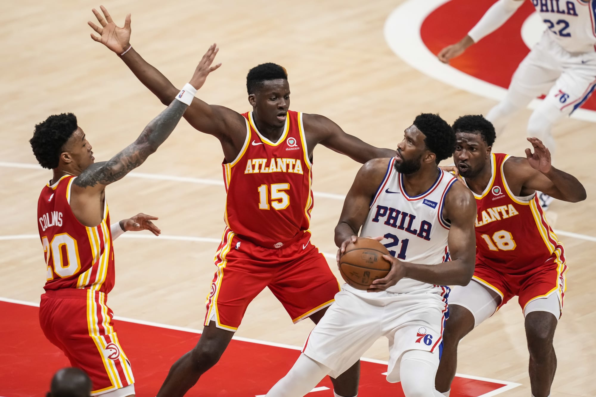 The Atlanta Hawks big men can reclaim the paint with Embiid injured