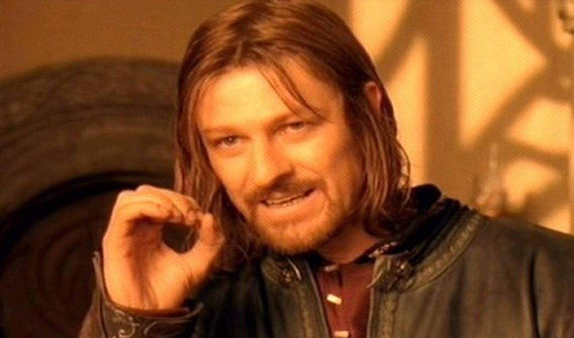 Sean Bean was reading from a script taped to his knee for famous Lord of the Rings line