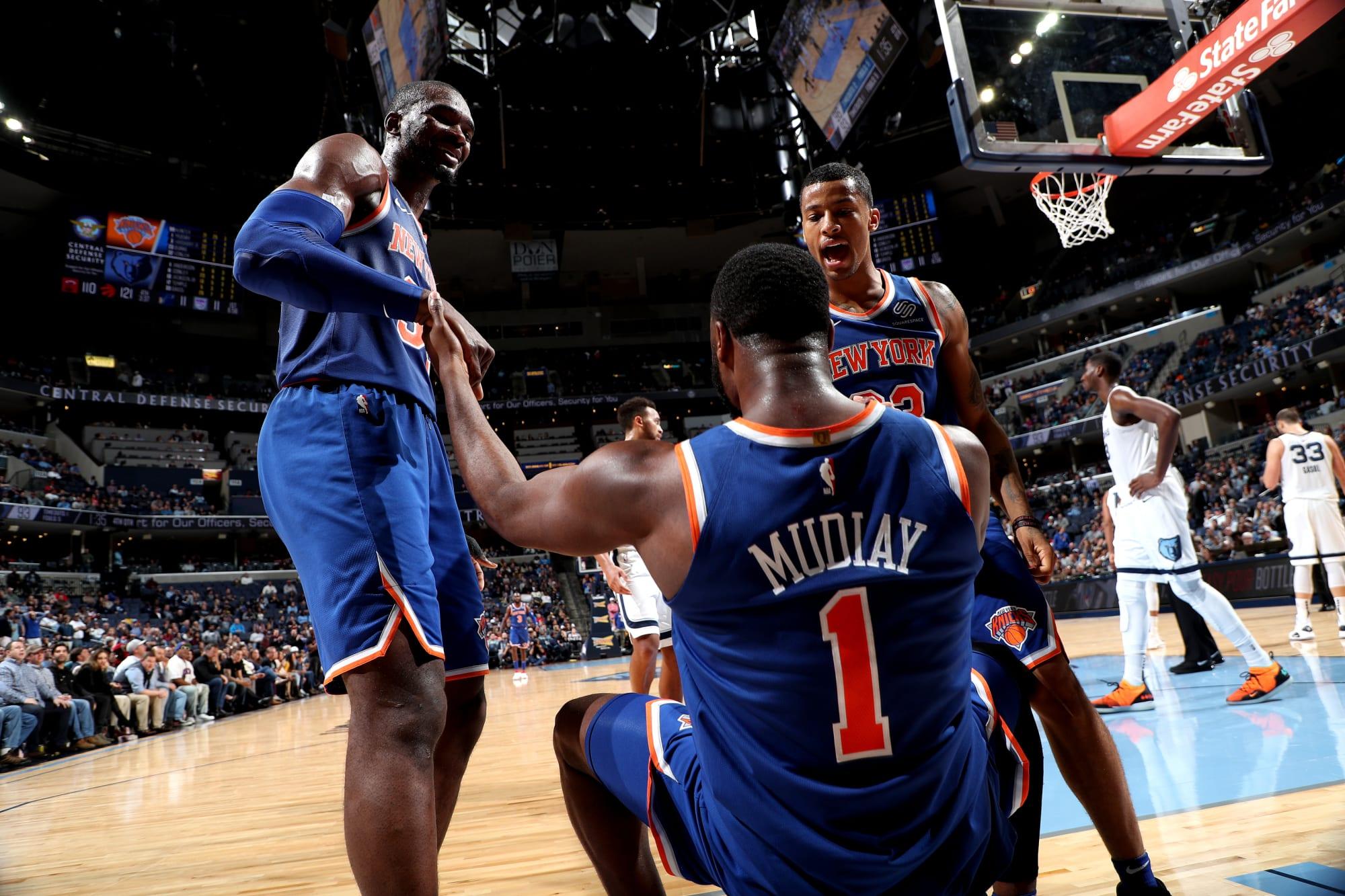 New York Knicks #32 Noah Vonleh City Jersey and Pant Set