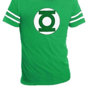 Green Lantern Logo With Striped Sleeves T-shirt