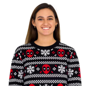 Deadpool Holiday Snow Stripes Ugly Christmas Sweater