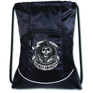 S.O.A. Reaper Logo Black Cinch Drawstring Bag