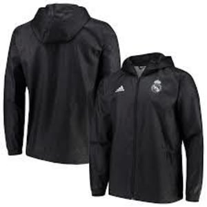 Real Madrid adidas Club Full-Zip Windbreaker Jacket - Black