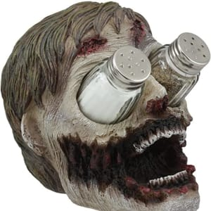 Ebros Gory Eyeless Walking Dead Zombie Head Salt and Pepper Shakers