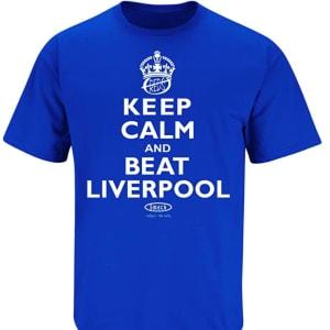 Smack Apparel Everton F.C. Fans. Keep Calm and Beat Liverpool Royal Blue T Shirt (Sm-5X)