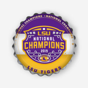 LSU Tigers 2019 Football National Champions Bottlecap Wall Sign