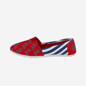Ole Miss Rebels Womens Stripe Canvas Shoe - S