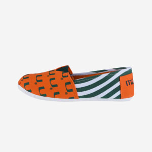Miami Hurricanes Womens Stripe Canvas Shoe - M