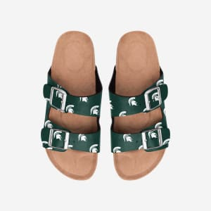 Michigan State Spartans Womens Team Logo Double Buckle Sandal - S