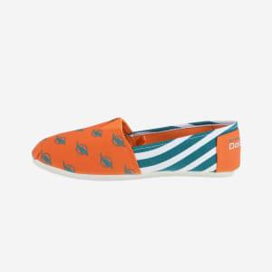 Miami Dolphins Womens Stripe Canvas Shoe - M