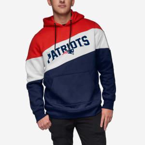 New England Patriots Wordmark Colorblock Hoodie - L