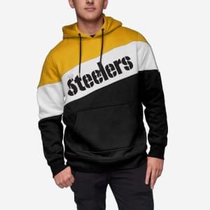Pittsburgh Steelers Wordmark Colorblock Hoodie - 2XL
