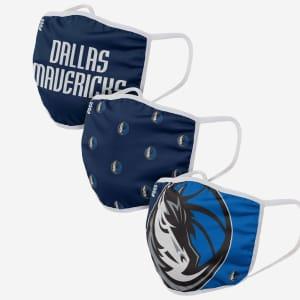 Dallas Mavericks 3 Pack Face Cover - Adult
