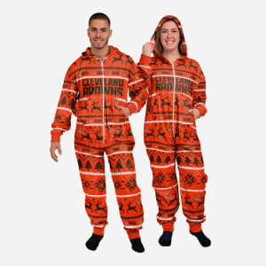 Cleveland Browns Holiday One Piece Pajamas - M