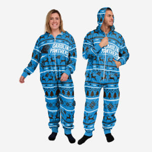 Carolina Panthers Holiday One Piece Pajamas - L