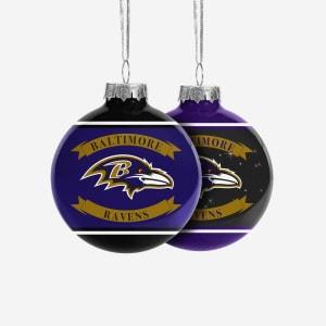 Baltimore Ravens 2 Pack Ball Ornament Set